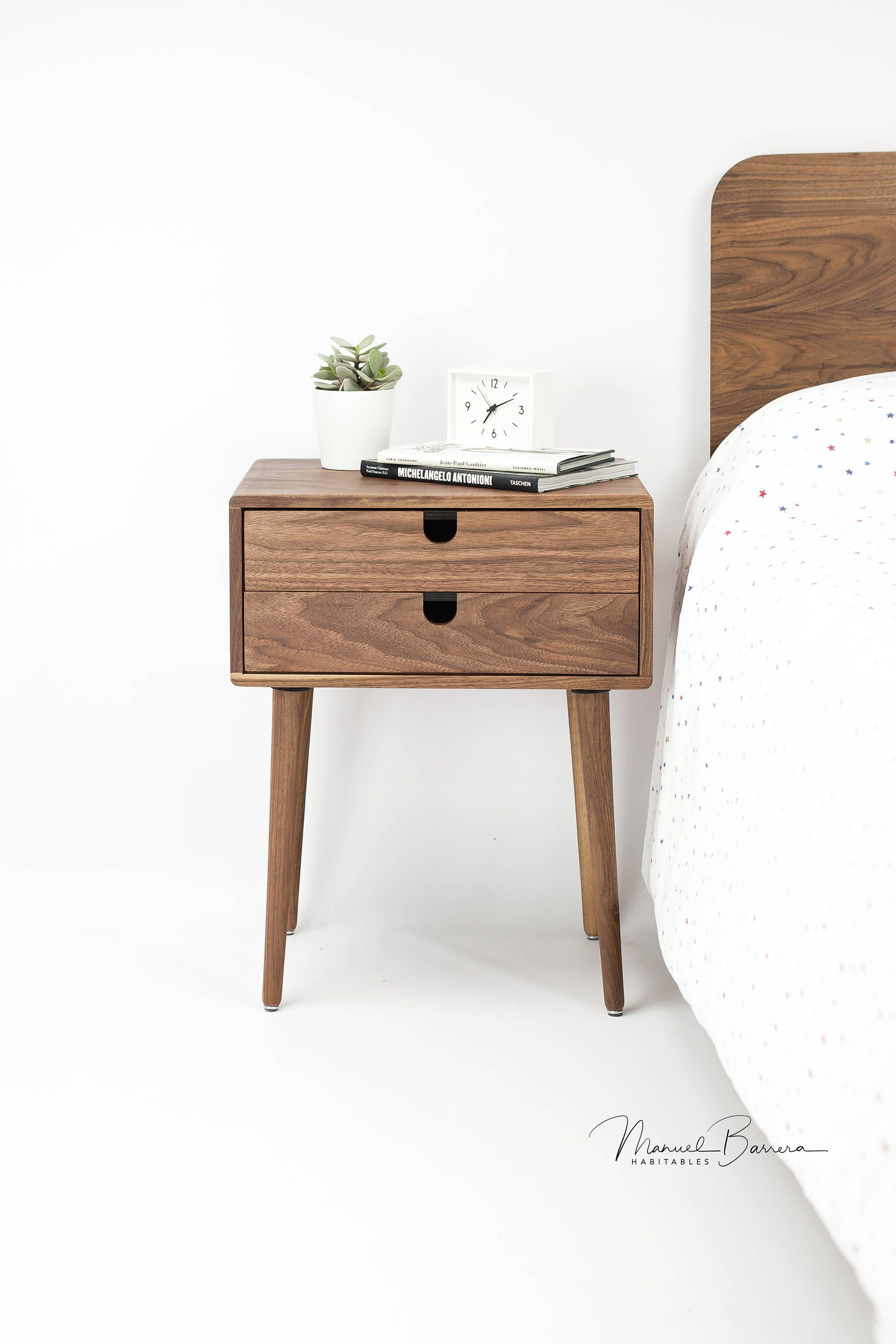 2 Drawers Solid Walnut Bedside Table Nightstand From Habitables