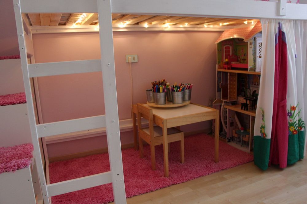 MYDAL Loftbed with play area for girl's room | Bunk beds ...