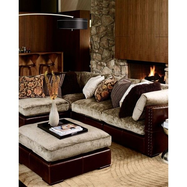 Chenille Leather Sectional Sofa 126 631 215 Idr Liked On
