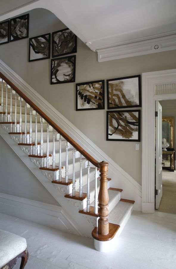 Stair Wall Art Climbs The Walls With A Sisal Runner To Soften The Steps And  White Painted Floors | Styling By Susan Burns