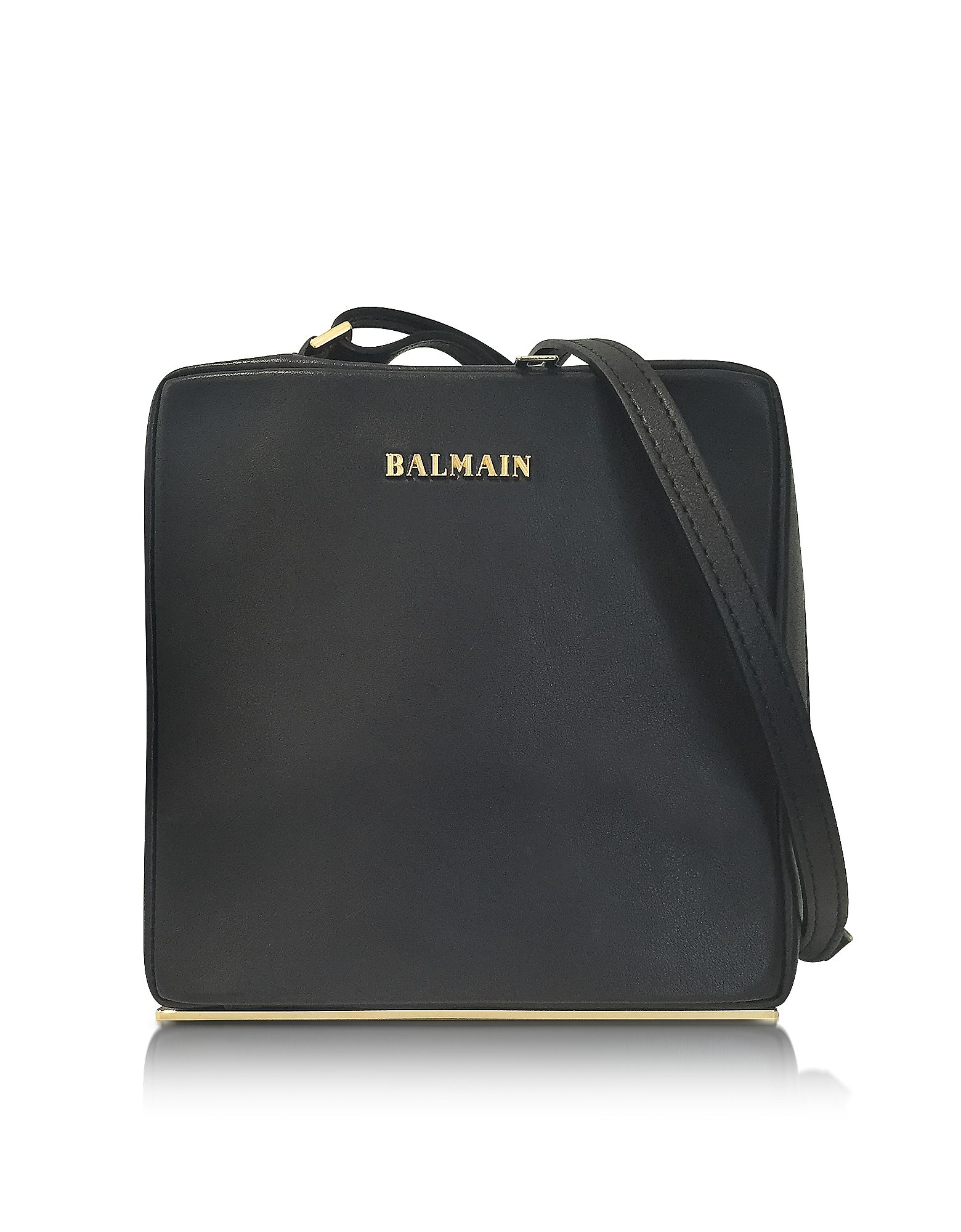 Pablito Black Leather Shoulder Bag crafted in calfskin, has a contemporary structure and a sensual look with a city chic vibe. Featuring zip closure, shoulder strap, signature detail on front, bottom base and gold tone hardware. Genuine Balmain.