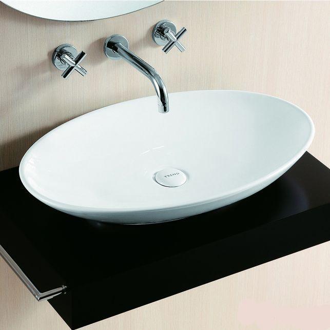 Lux Aqua Badmöbel Waschtisch Keramik Waschbecken Aufsatzbecken Oval