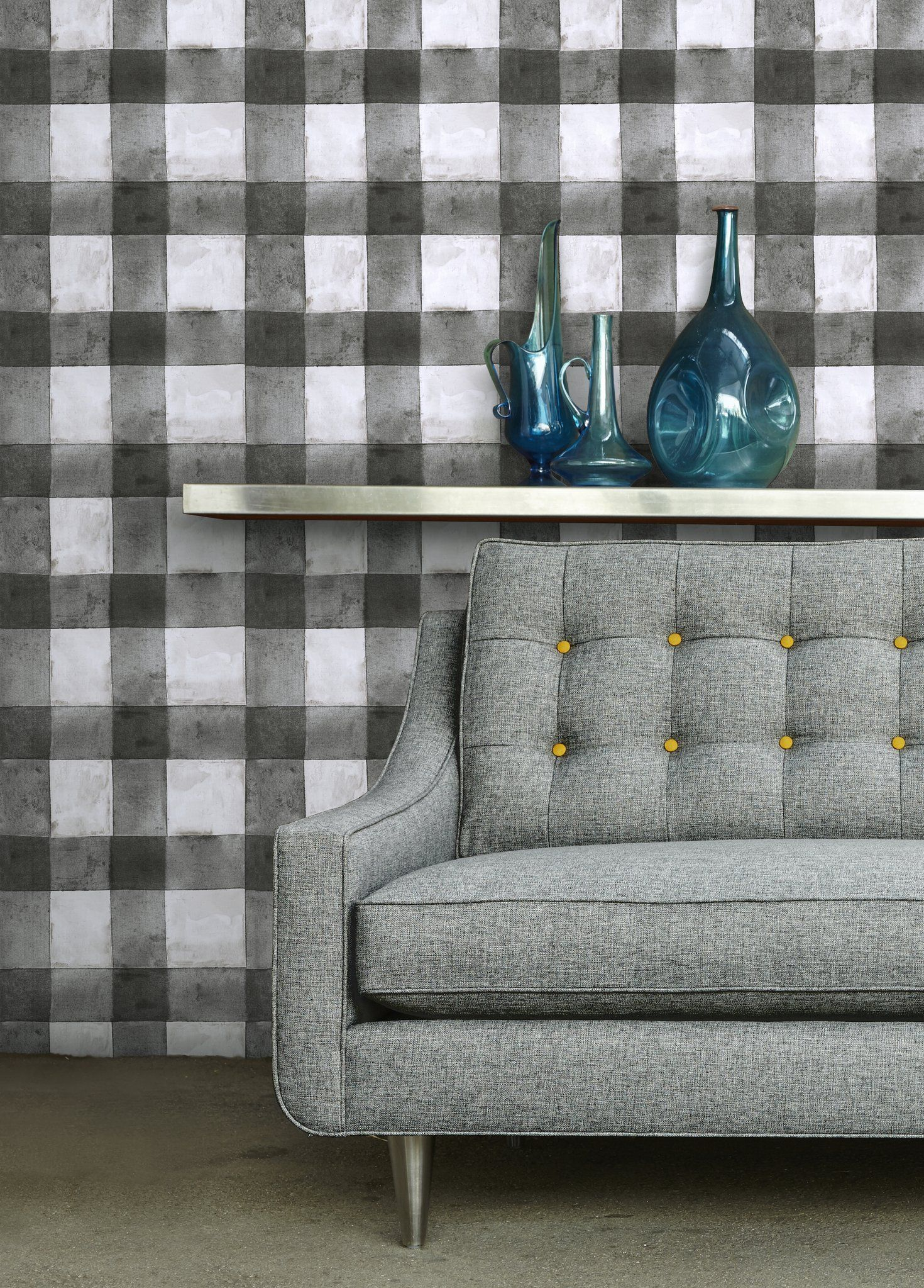 Buffalo Plaid Black Peel & Stick Wallpaper Furniture