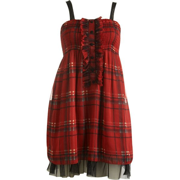 Chiffon Plaid Dress ($15) found on Polyvore