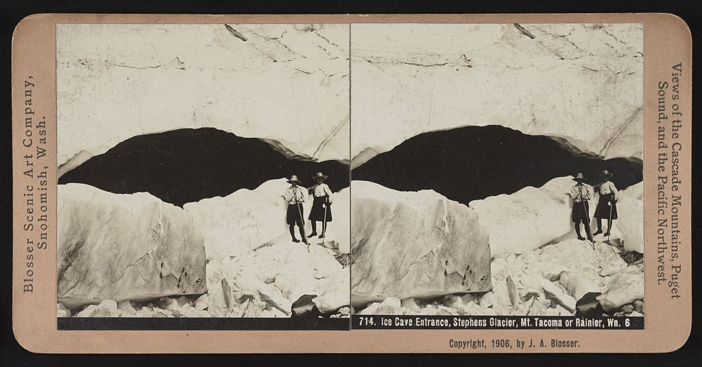 Ice cave entrance stephens glacier mt or rainier