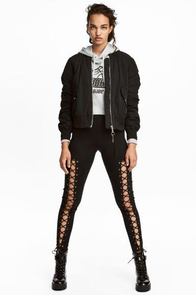 amp;m Pinterest Noir Fr Look 1 H Laçage Legging Avec Femme XzOgnqPEAw