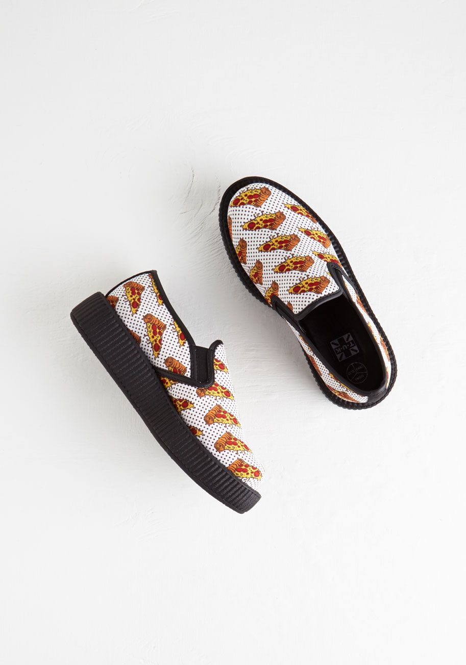644e58be88c A Pizza the Action Flatform. Share your sassy style by sporting these  deliciously unique creepers by T.U.K.  multi  modcloth