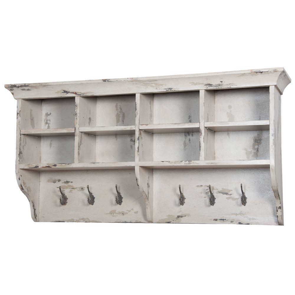 White Distressed Coat Rack Shelf Hanging Wall