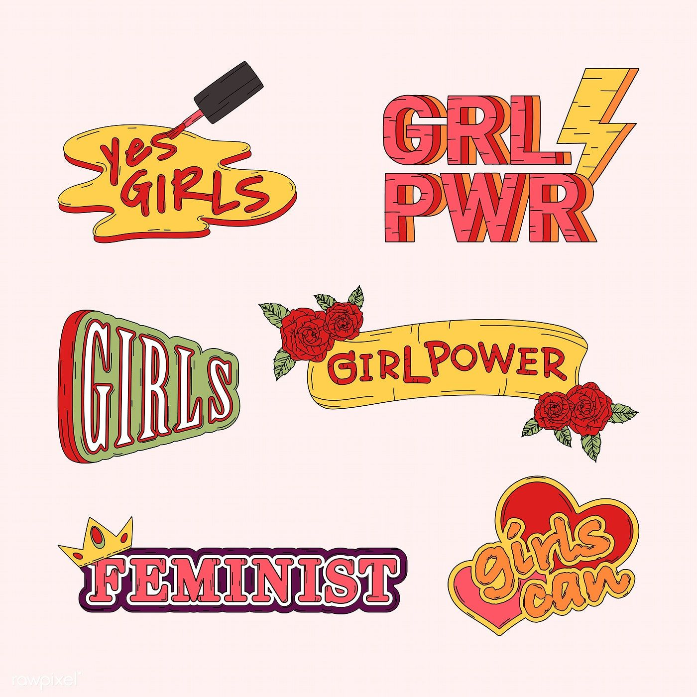 Collection of girl power vectors | free image by rawpixel