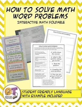 How to solve word problems interactive notebook math foldable | Math ...