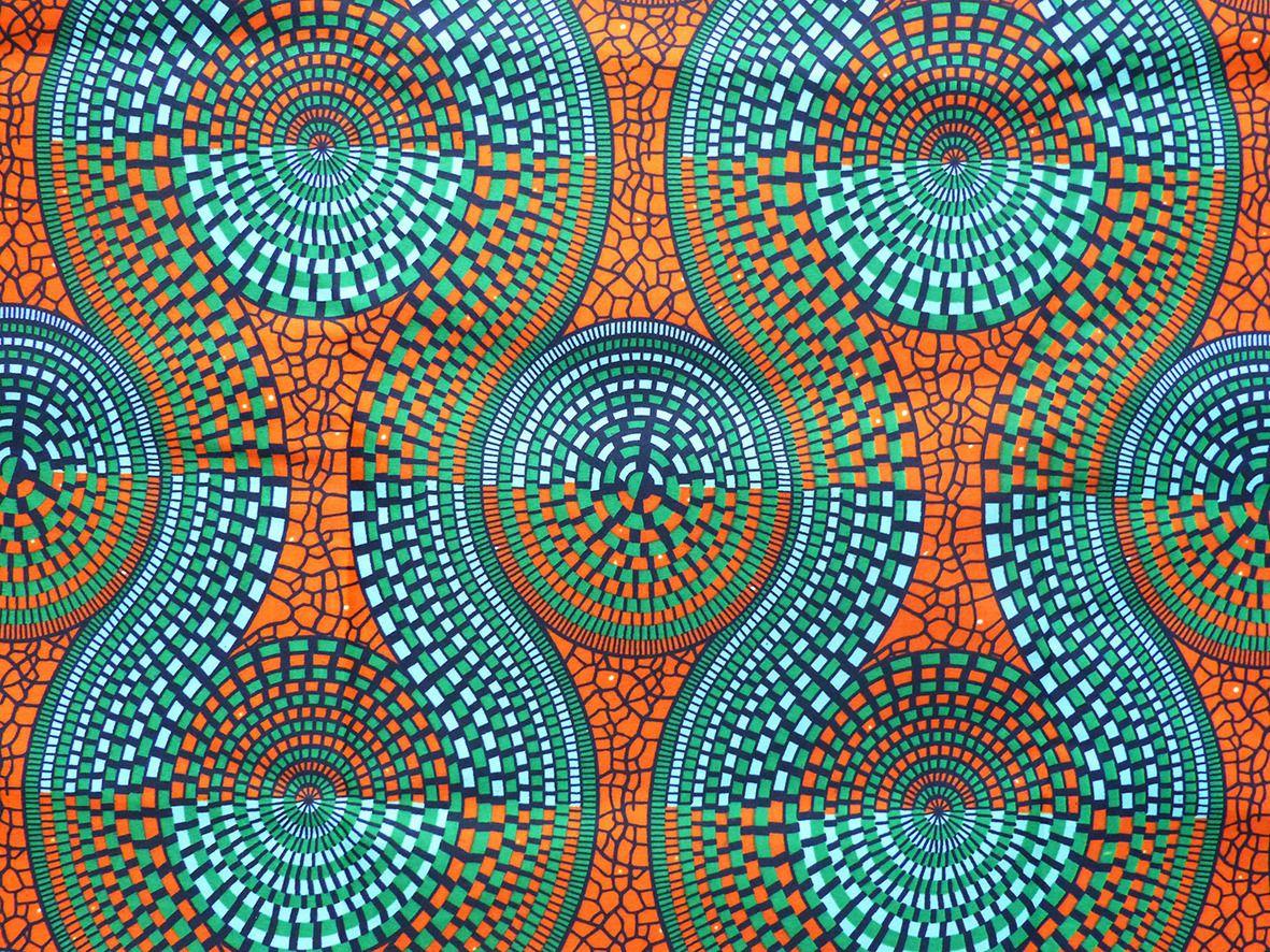 tissu africain wax turquoise