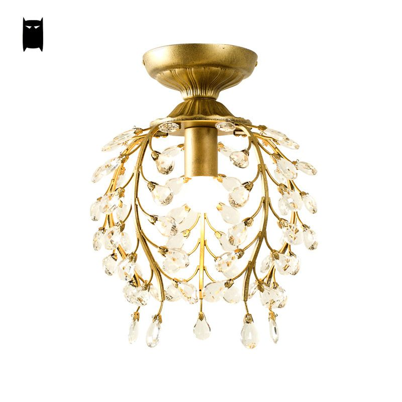 Gold K9 Crystal Ceiling Light Fixture Rustic Country Retro ...