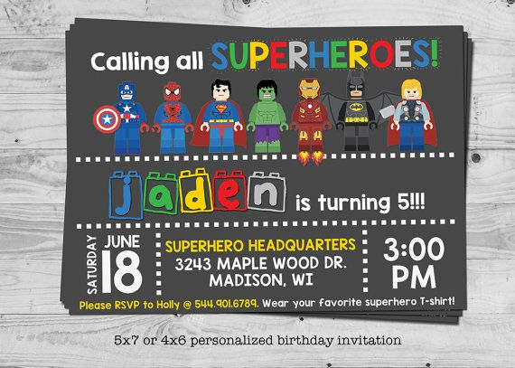 Superhero birthday invitation personalized with your childs name hey i found this really awesome etsy listing at httpsetsynz listing398894287lego superhero birthday invitation stopboris Image collections