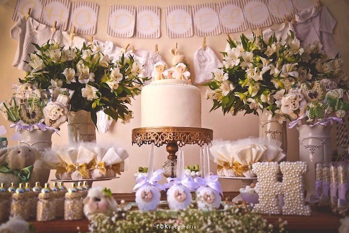 sweet table details from a little lamb baby shower via karas party ideas karaspartyideas