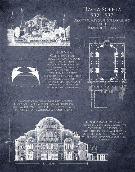 Hagia Sophia Art Historical Architectural By Scarletblvd On Etsy 25 00 Usa Hagia Sophia Architecture Blueprints Byzantine Architecture