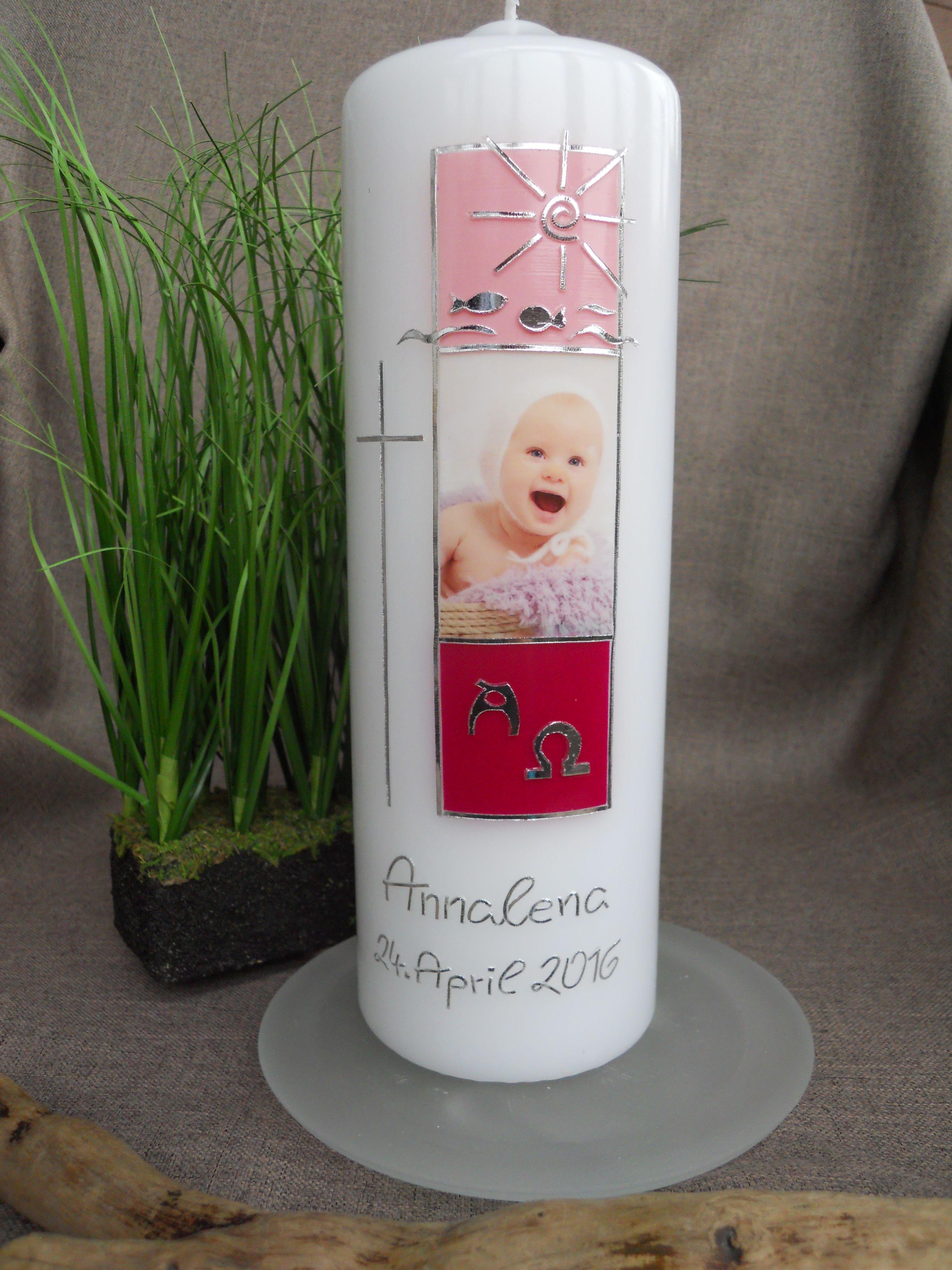 Taufkerze Babyfoto Baby Geburt rosa Fuabdruck Mdchen Storch  Taufkerzen Taufe Baby Geburt