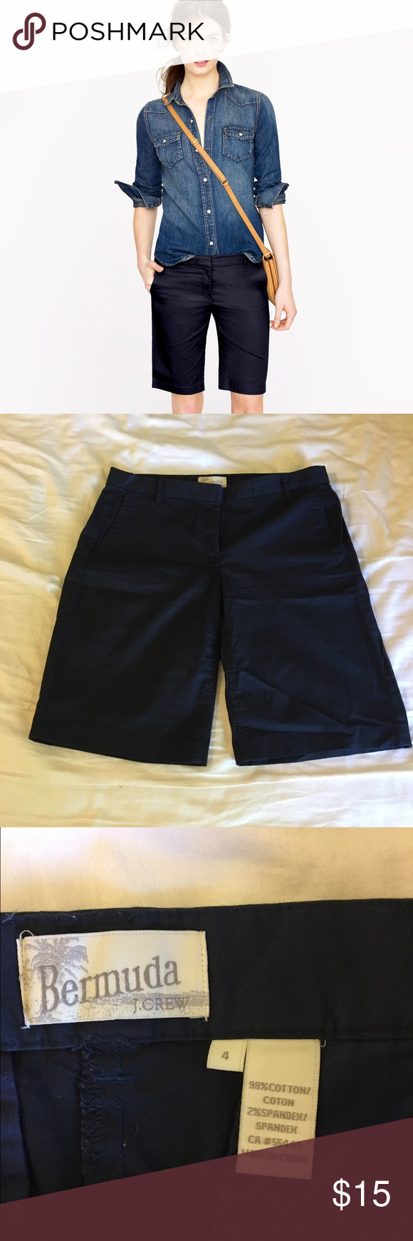 J.Crew Bamuda pants Navy size 4✨🌺 J.Crew Bamuda pants navy size 4. ✨🙂 Worn only a few times, good condition! Inseam 9.5. J. Crew Pants Capris