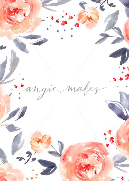 Blue And Pink Watercolor Flower Border Blank Watercolor Flower