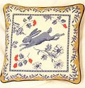 Provence Leaping Bunny Needlepoint Pillow, 14 inch square