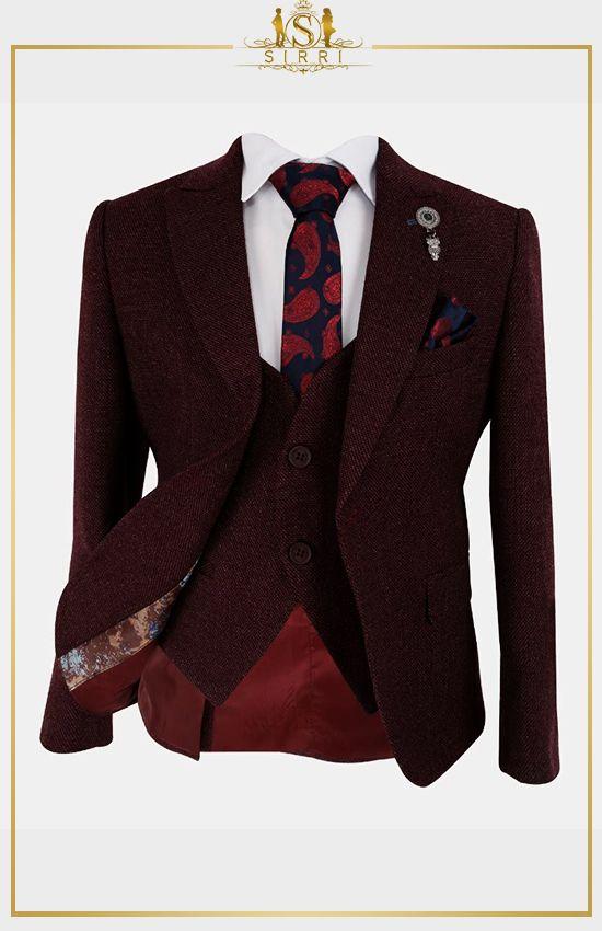 Tailored Fit Jungen Anzug im Tweed Look in Burgund in 2020 ...