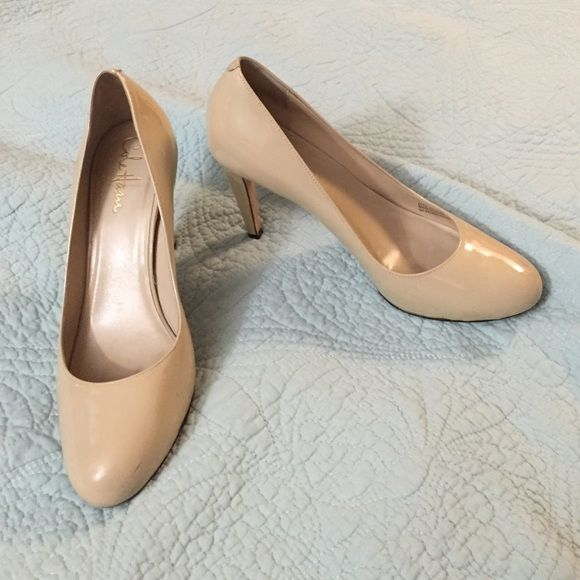 1273f5dfa95 Cole Haan Nike Air heels Patten leather nude pumps. Scuff marks on ...