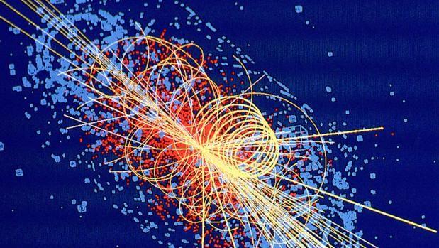 sto es lo que apareció en las pantallas del LHC al descubrir el bosón de Higgs.