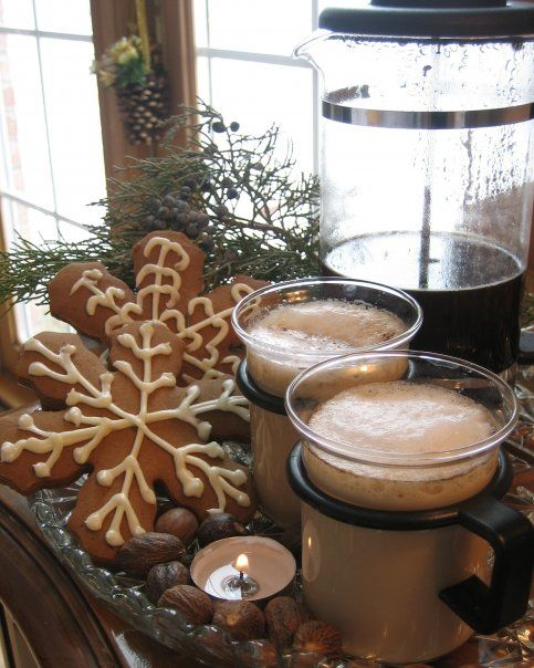 Gingerbread Snowflakes from marthastewart.com and french pressed coffee lattes