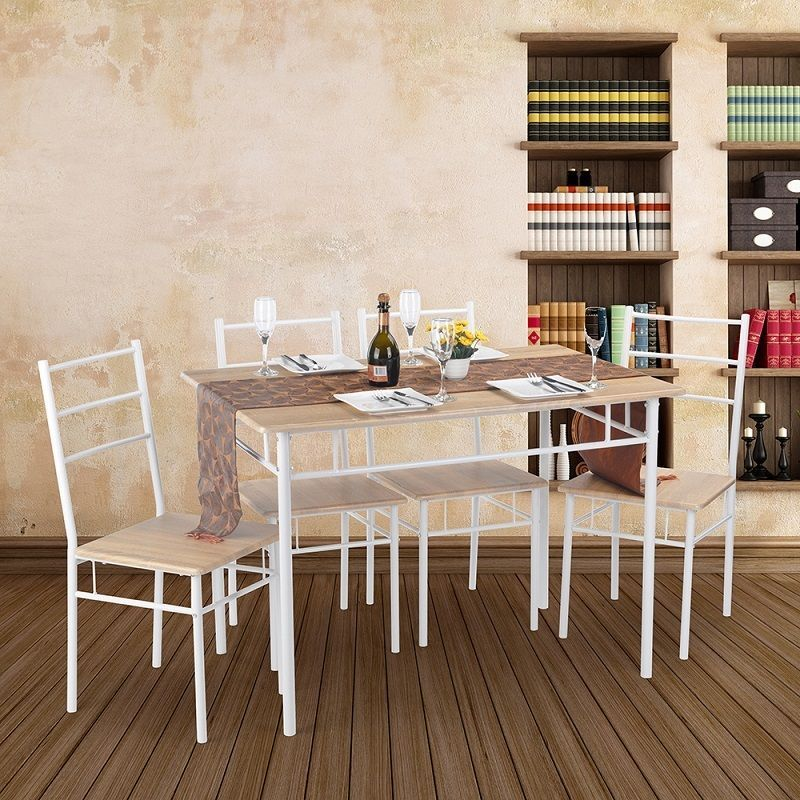 NEW OAK MDF WOOD AND WHITE STEEL TUBE TABLE AND 4 CHAIRS 5PC PACK