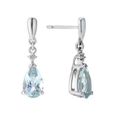 ebe233bb6cd0e 9ct white gold aquamarine & diamond drop earrings   lisa birthday ...