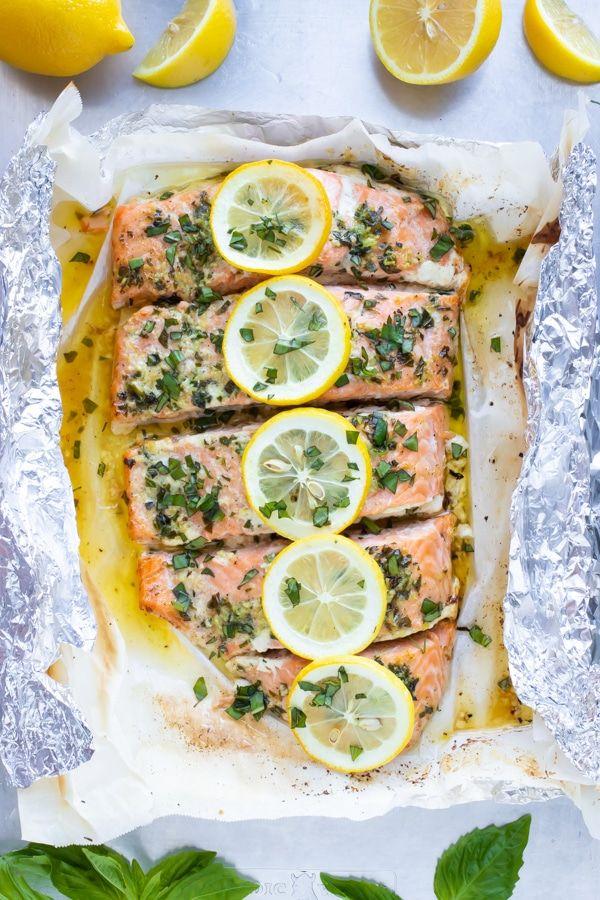 Basil & Lemon Baked Salmon in Foil | Easy + Low-Ca