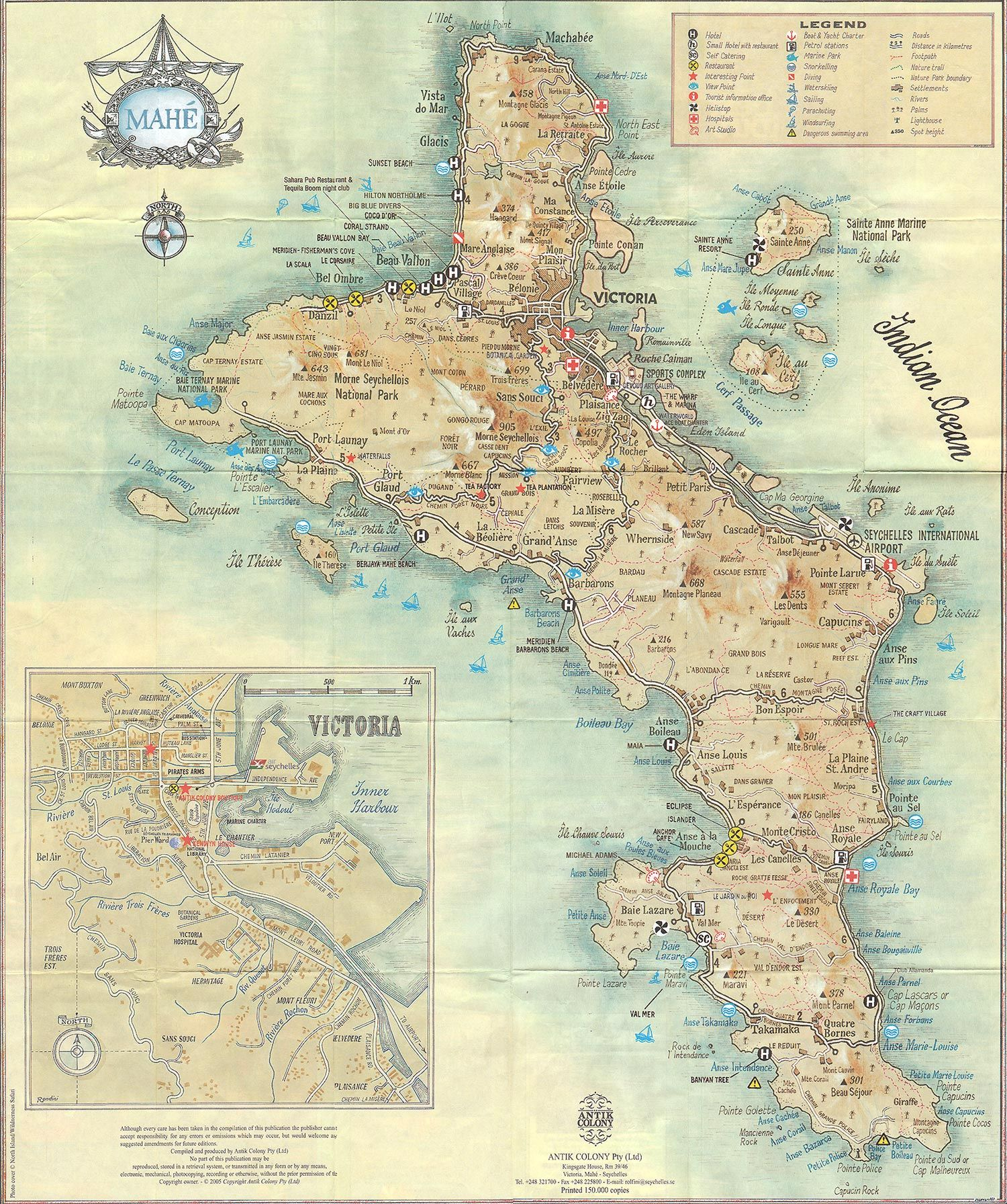 Mahe Island Seychelles By Antik Colony Map Seychelles Antike