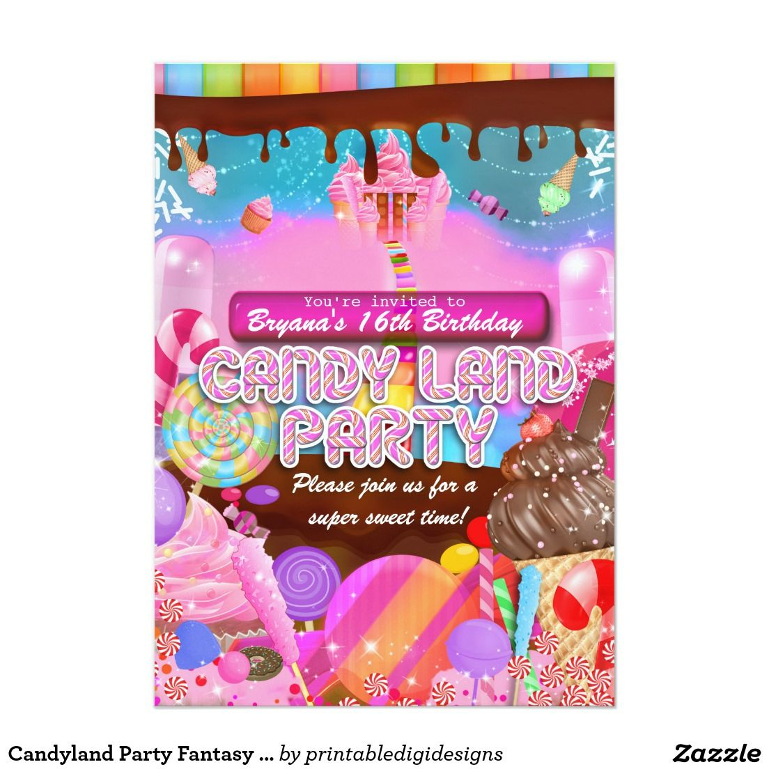 Candyland Party Fantasy Candy Cupcakes Flyer Sweet 16