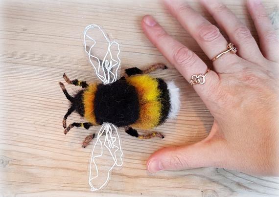 handcrafted in Scotland Needle felted Bee brooch unique bumblebee design