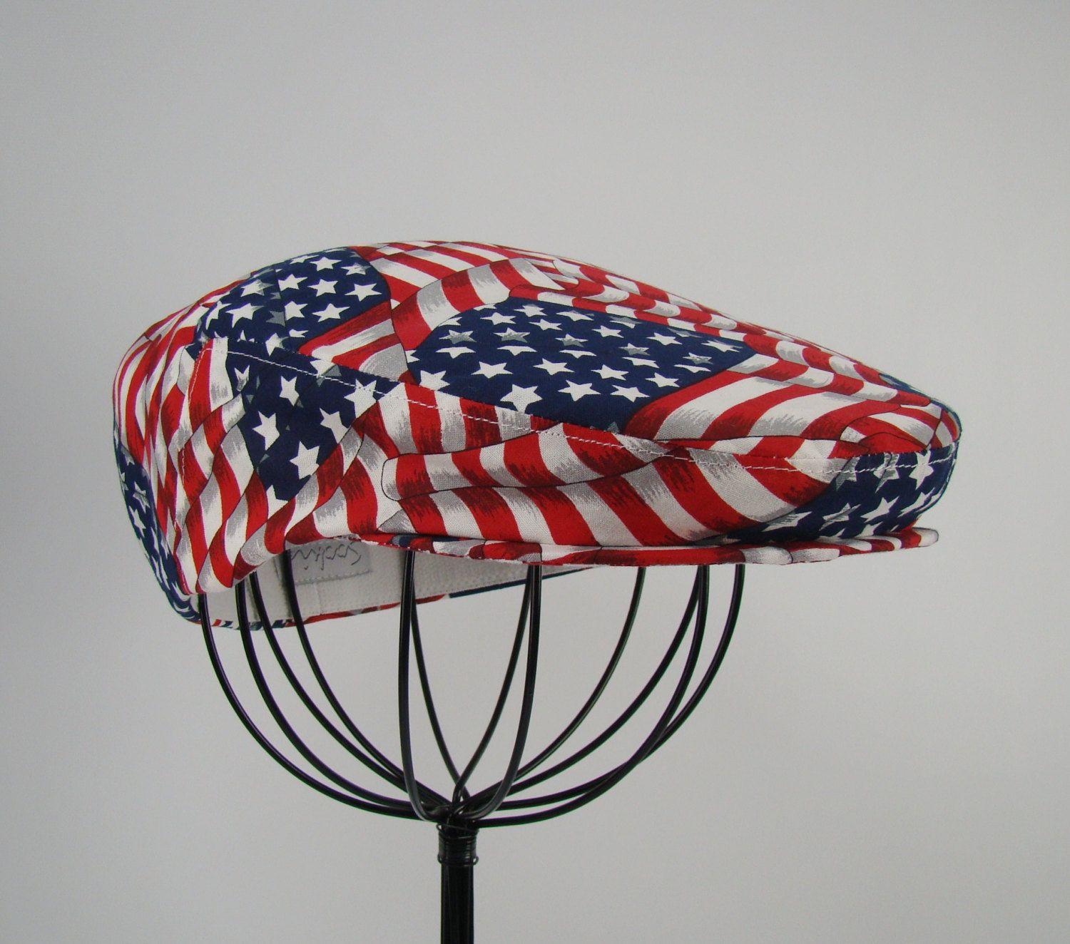 c484f90a2b6 Patriotic American Flag Inspired Patchwork Print Cotton Jeff Cap ...