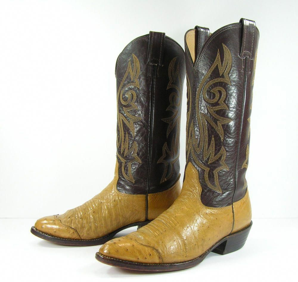 a8c980c5db3 ostrich cowboy boots womens 8.5 brown western nocona men's 7 D ...
