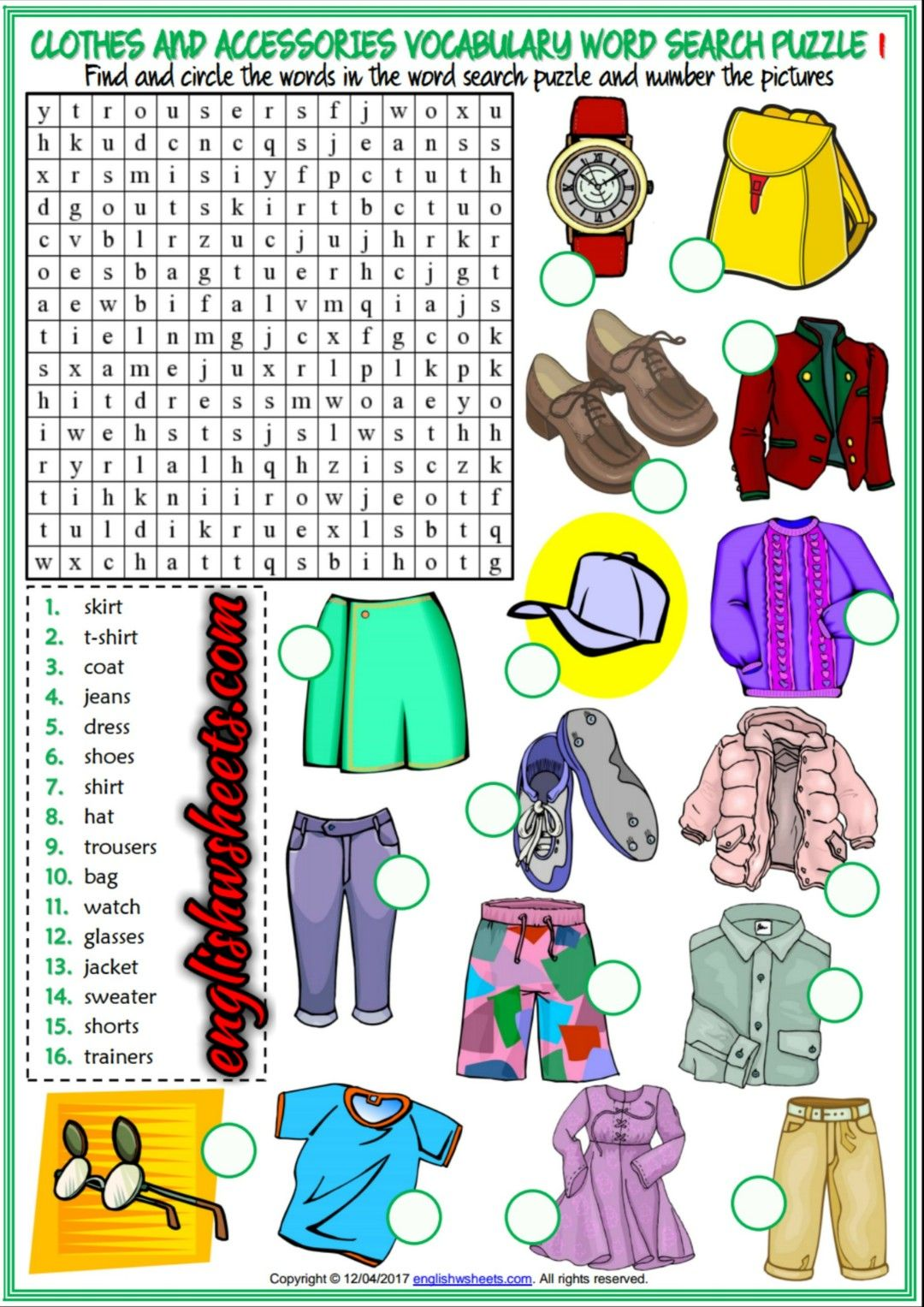 Clothes And Accessories Esl Printable Word Search Puzzle Worksheets For Kids