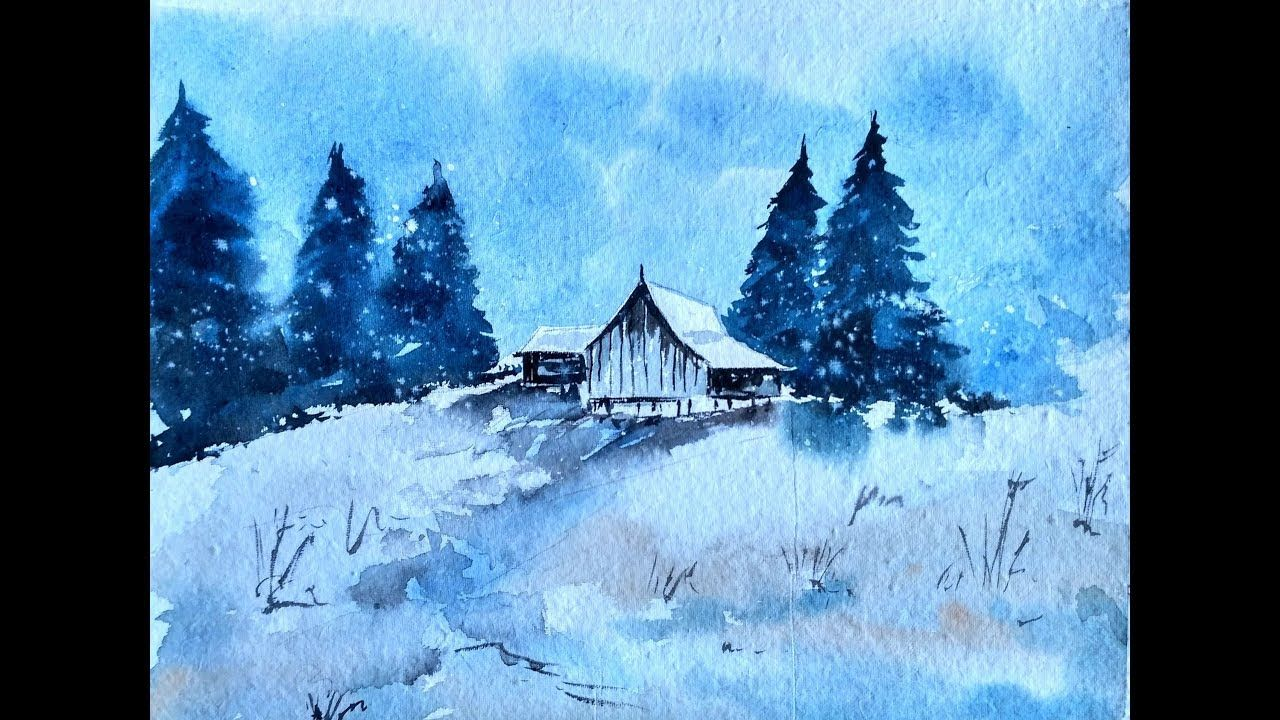 Snowy Winter Landscape With Watercolor Paint With David