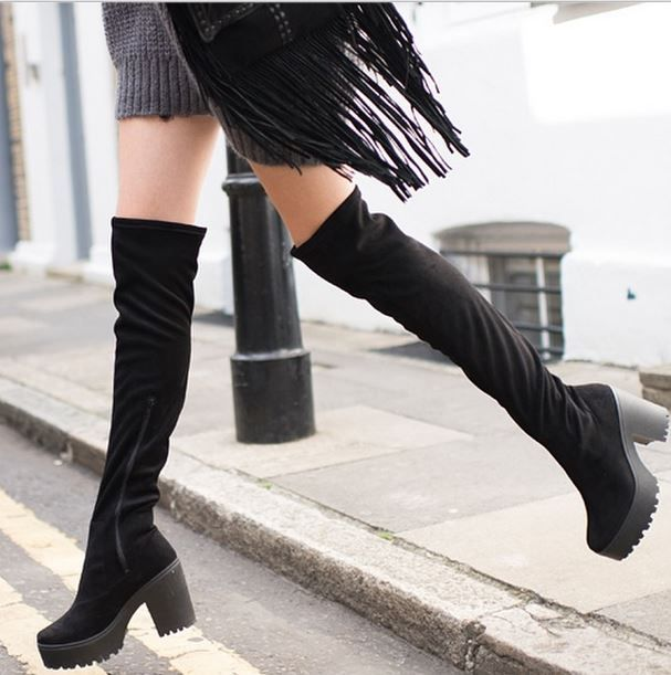 Black Cleated Patform Over the Knee Boots