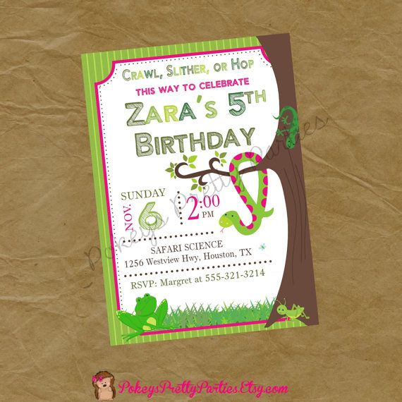 Girls Reptiles Insects And Bugs Birthday Party Invite Invitation By