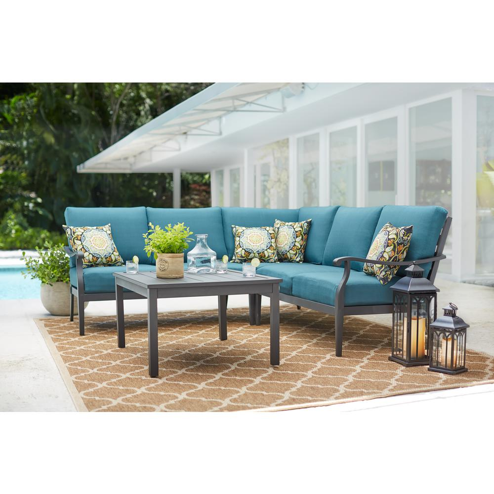 Hampton Bay Riley 3 Piece Metal Outdoor Sectional Set With Charleston Cushions Hd18129i The Home Depot Outdoor Living Rooms Outdoor Sectional Patio Sectional