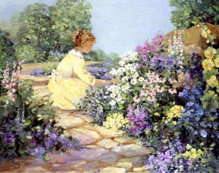 women in gardens of flowers girl in flowers garden garden oil painting - Flower Garden Paintings