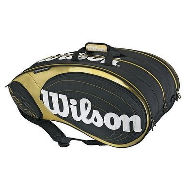 Wilson Tennis Tour Bag In Black Gold Milos Raonic Uses This