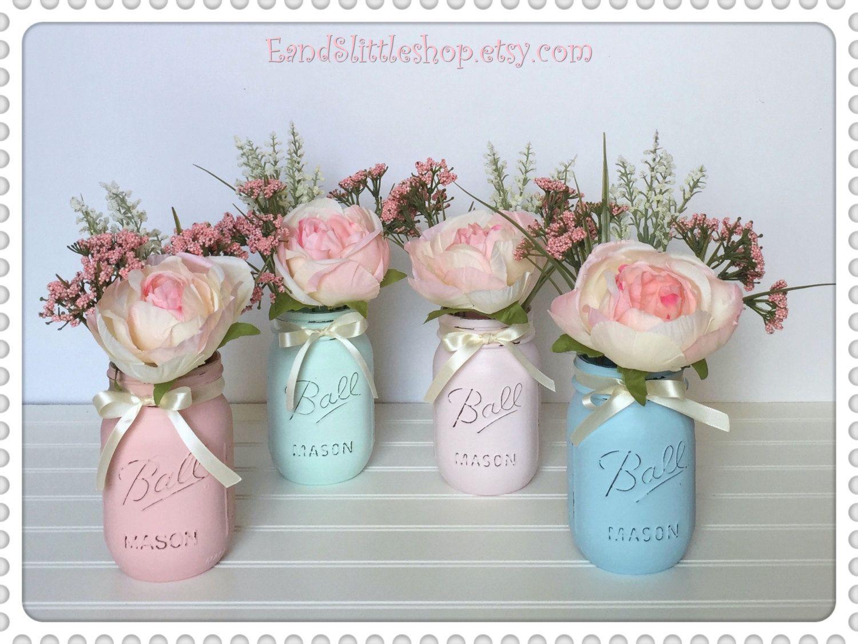 Pastel blue wedding decor  Baby Shower Mason Jar SetEaster DecorSpring DecorShabby Chic