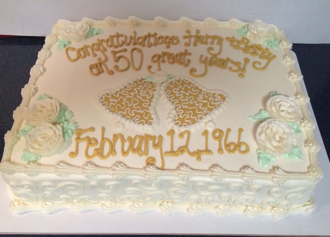 Sheet Cake Designs For Anniversary : Gold and White 50th Wedding Anniversary Sheet Cake www ...