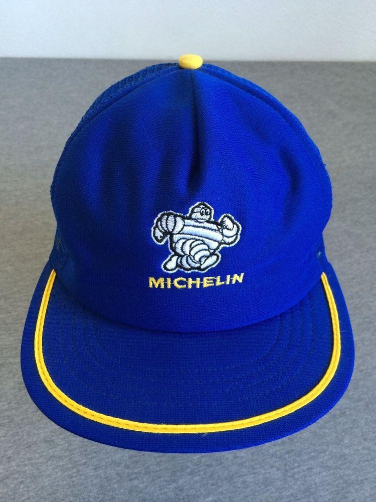 3ca8cde80b8 MICHELIN MAN 80 s Snap Back Trucker Hat Tires USA Made Mesh MINT! Flat Brim   Horizon  BaseballCap