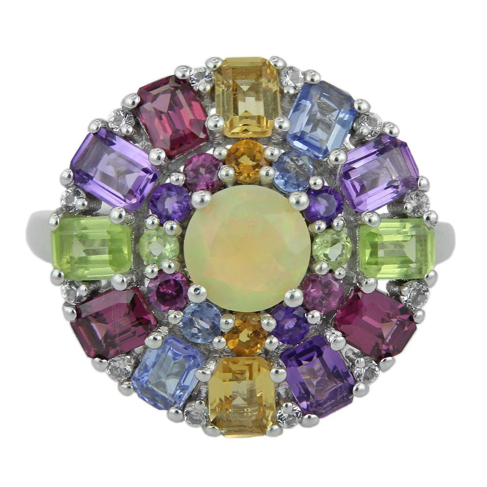 ETHIOPIAN OPAL & MULTI COLORED GEMSTONE T.C.W. 3.92 RING IN 925 STERLING SILVER #JEWELFORT #SolitairewithAccents #Anniversary