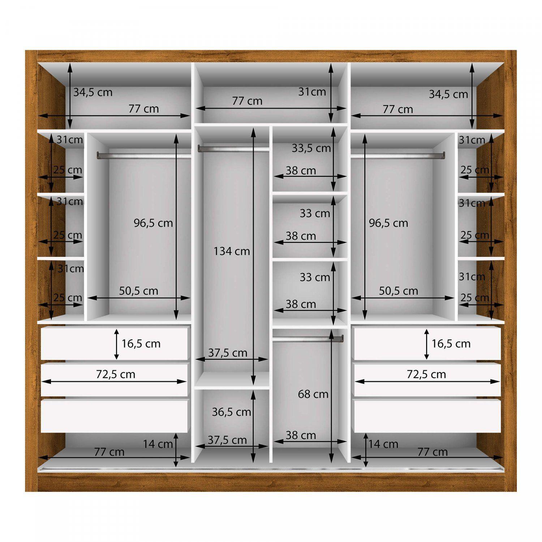 Guarda Roupa Casal com 3 Espelho 3 Portas Espresso Móveis