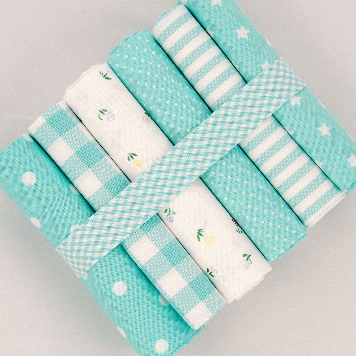 Fat quarter fabric bundle turquoise on white - 100% cotton stripes, checks, floral - quilt patchwork doll toy cushion bunting by fabricsandfrills on Etsy https://www.etsy.com/ca/listing/205627210/fat-quarter-fabric-bundle-turquoise-on