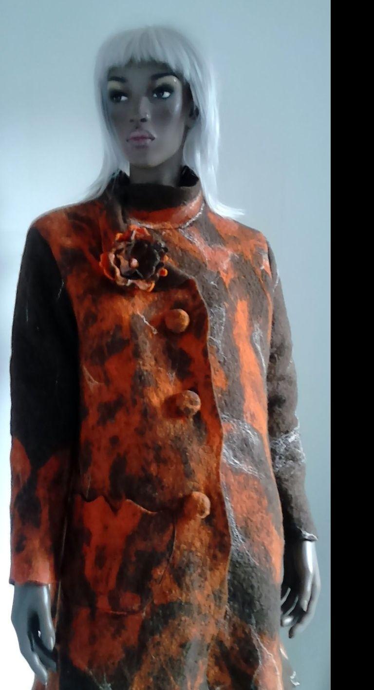 manteau en laine feutrée orange et marron : Manteau, Blouson, veste par madelisoucree