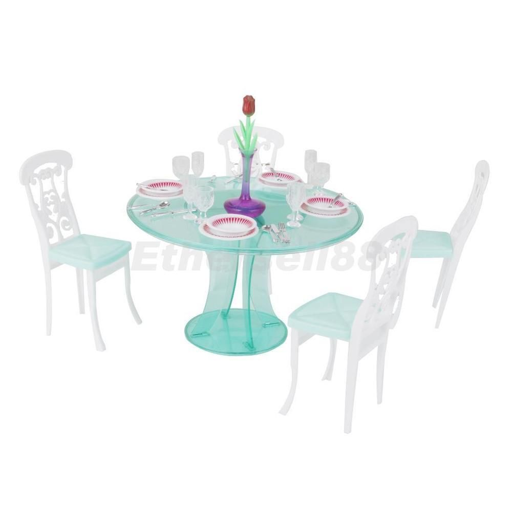 Dining Room Table Chair Tableware Set For 1/6 Barbie Dolls House Furniture GOOD FOR REPAINT!